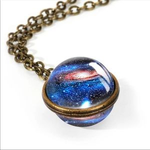 Galaxy globe pendant with necklace